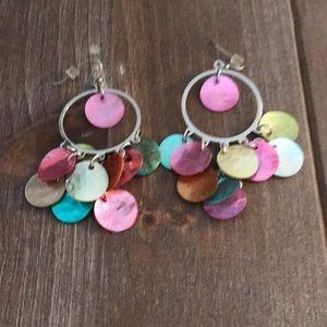 NWOT Lia Sophia multi color shell earrings